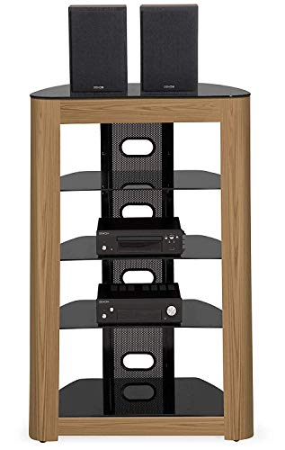 Homeology Zinnia Façade en chêne véritable 5 étages avec étagères Noires Brillantes
