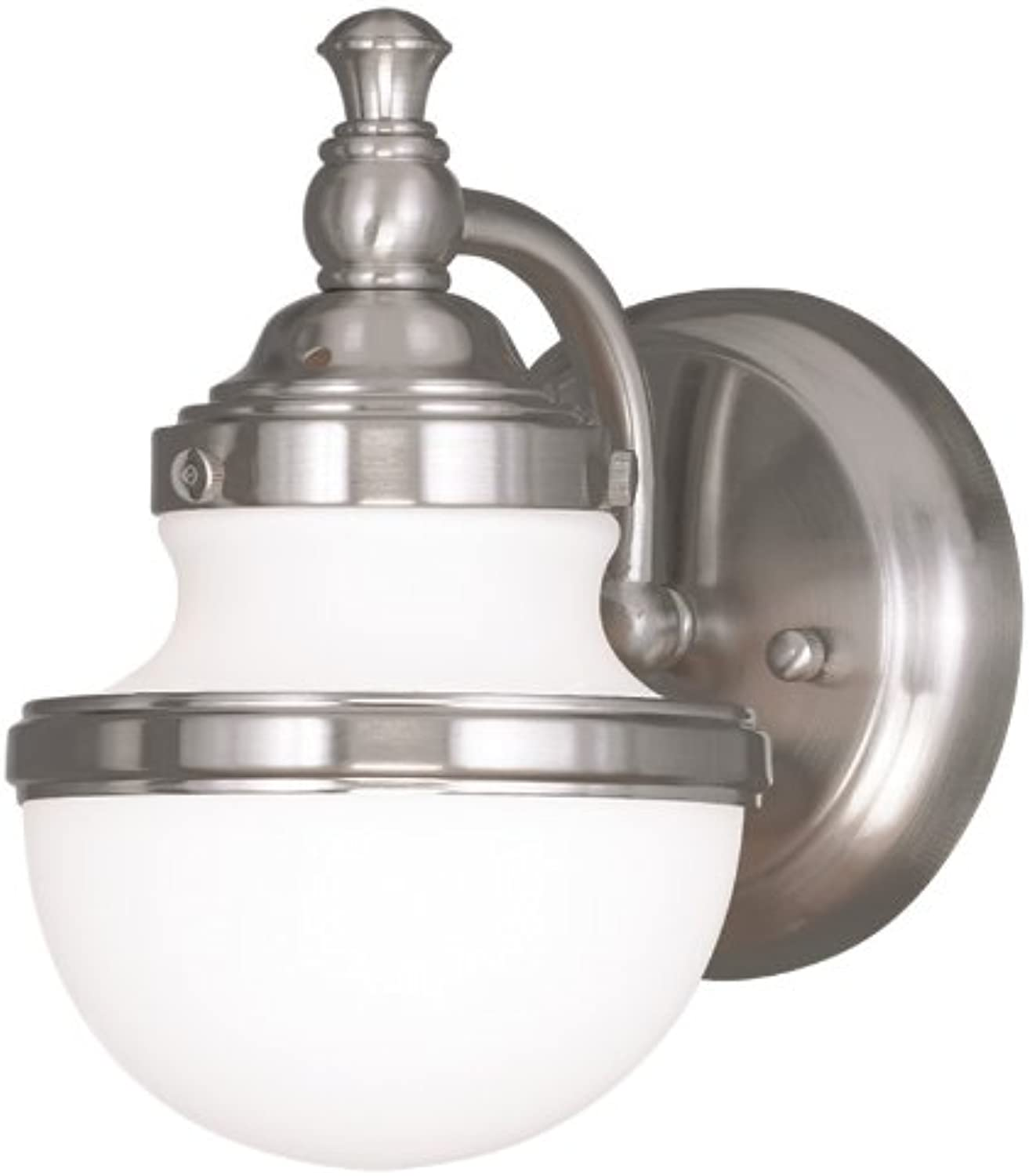 Livex Lighting 5711-91 Oldwick 1-Light Bath Light Wall Sconce, Brushed Nickel