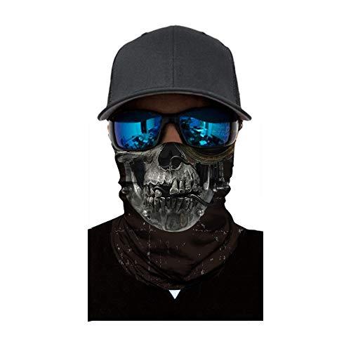 MEIbax Al aire libre 3D Balaclava Moto Pasamontañas Calavera Multifuncional Bufanda Prueba de Viento Microfibra Elástico Pañuelos Cabeza Bandana Esquí Ciclismo Bici Máscara Facial Protección UV