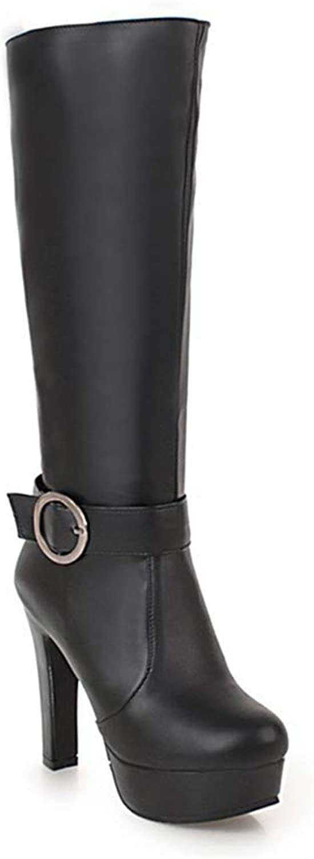 Women Winter Mid Calf High Heel Buckle Zipper Platform Black Beige Fashion Leather Casual shoes