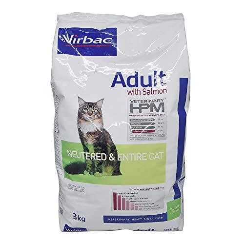 Virbac Vet Hpm Cat Ad Neutered Saumon Nourriture 3 kg pour Chien