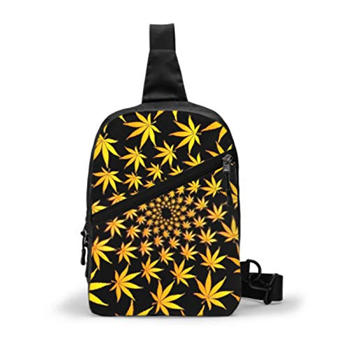 Mochila Sling, Viaje Senderismo Daypack Hojas de Marihuana Doradas Patrón de vectores Cannabis Fold Chest Crossbody Bandolera