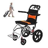 YYOBK Folding Wheelchairs, Portable Travel Wheelchairs with Handbrake, Aluminum Alloy Lightweight Transportation Wheelchair Trolleys for Elderly Aircraft Travel (Size : 12 inch Rear Wheel)