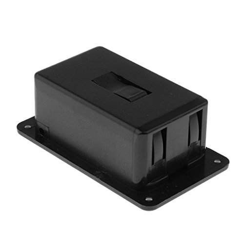 Caja de tapa para batería de 9 V, para guitarra activa, grave, pickup electrónica, color negro # 3