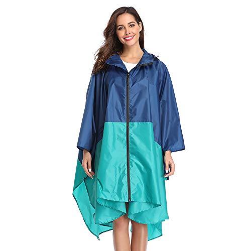 Summer Mae Regenponcho für Erwachsene, mit Kapuze, wasserdicht, mit Reißverschluss, Blau / Grün