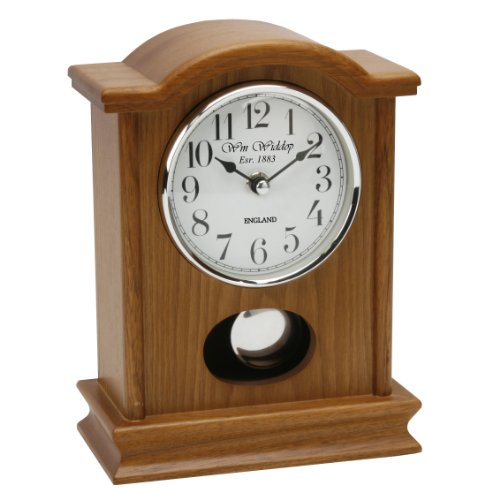 Napoleon Oak Wood & Glass Pendulum Mantel Clock W29670AK