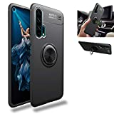 Honor 20 Pro Case,360° Rotating Ring Kickstand Protective Case,Silicone Soft TPU Shockproof Protection Thin Cover Compatible with [Magnetic Car Mount] for Huawei Honor 20 Pro Case (Black/Black)
