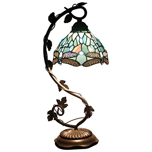 Tiffany Lamp - Bedside Lamp with Stained Glass Shade, Sea Blue Dragonfly Table Lamp with Thin Antique Metal Leaf Base for Small Space of Living Room, Bedroom, Banker, Desk Lamp