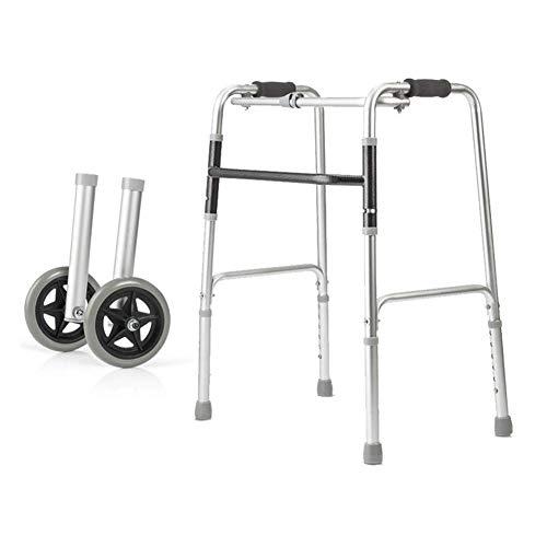 PAKUES-QO Andador con Ruedas Ligero Andador para Ancianos Discapacitados Andador Asistido Andador De Entrenamiento De Extremidades Inferiores Aleación De Aluminio Ligero Y Fácil De Llevar
