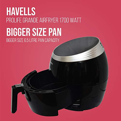 Havells Prolife Grande Air Fryer with Aero Crisp Technology 1700 Watt (Black)