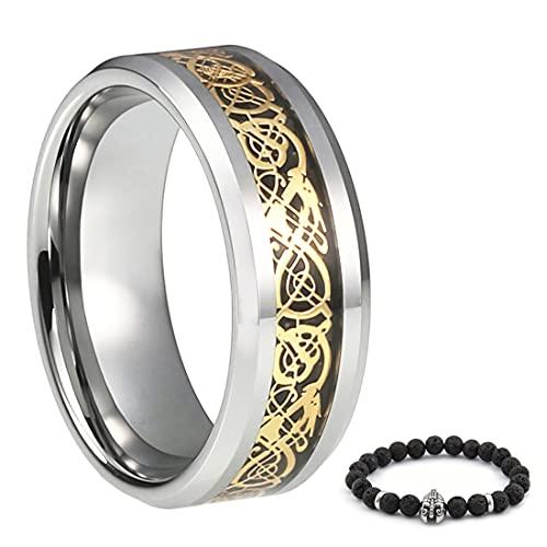 BAVIPOWER Viking Celtic Dragon Goldtone Ring Stainless Steel Scandinavian Protection Pagan Asatru Jewel for Mens Womens (10)