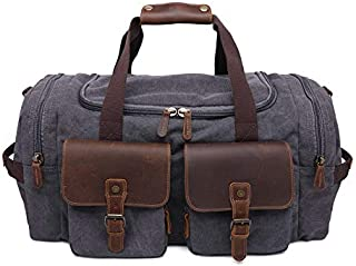 YOUNKING Canvas Duffle Bag Oversized Genuine Leather Travel Bags (Military Green)