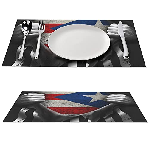 American Puerto Rico Flag Printed Placemat Anti-Skid PVC Table Mats Pad Washable Dining Tablemats Set 12x18 inches