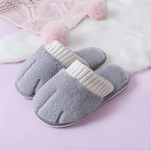 XZDNYDHGX Zapatillas de Deporte Hombre Mujer Antideslizante,Zapatillas de Felpa de algodón para Mujer de Interior, Amantes del hogar Zapatos de Suelo Antideslizantes para Mujer Gris EU 42-43