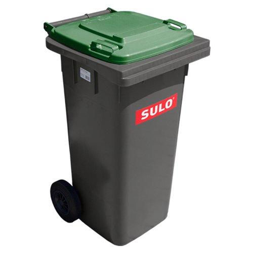 Müllbehälter SULO MGB 120 L, grau/Deckel EURO.2 grün (22068+22388)