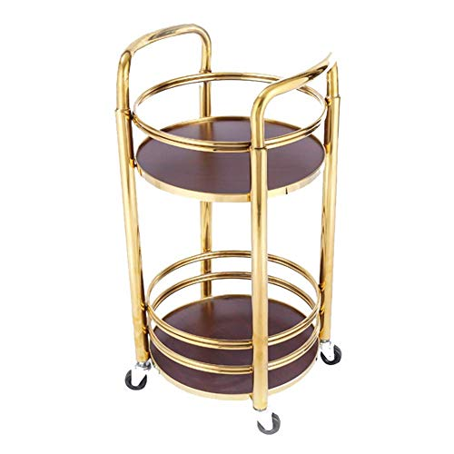 MHBGX Multifunction Portable Hand Trucks,Trolleyserving Trolley Drinks Titanium Solid Wood Tempered Glass Rubber Wheel Can Move Kitchen with Guardrail 2 Layer, Load 25 Kg, 2 Styles, 2 Colours,Gold-42