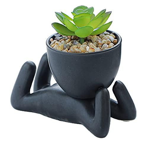 hfior Bloempot, keramische bloempot, 12 x 7 x 8 cm, Cartoon Humanoid plantenbak met drainagat, voor binnen en buiten…