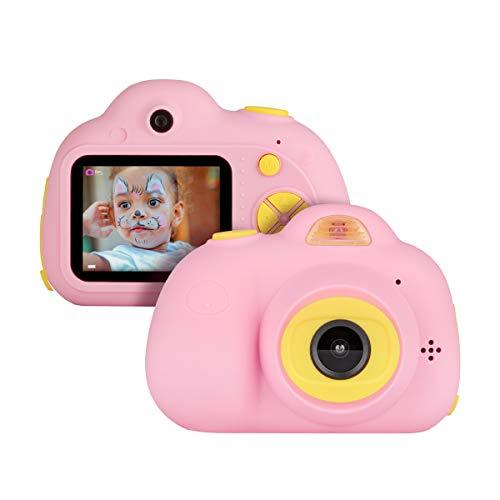 Miavogo Kinderkamera mit Dual-Objektiv Kamera für Kinder 8 Megapixel 2 Zoll Display, Rosa