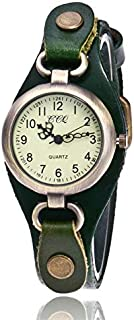 Elegant Watches for Women Fashion Luxury Lady Watch Leather Retro Bronze Small Dial Quartz Watch for Women Female Belt Watch (Color : Green)