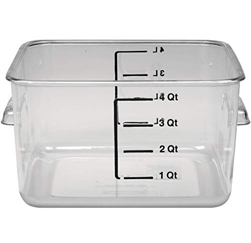 Rubbermaid Commercial Products Plastic Space Saving Square Food Storage Container For Kitchen/Sous Vide/Food Prep, 4 Quart, Clear, LID SOLD SEPARATELY