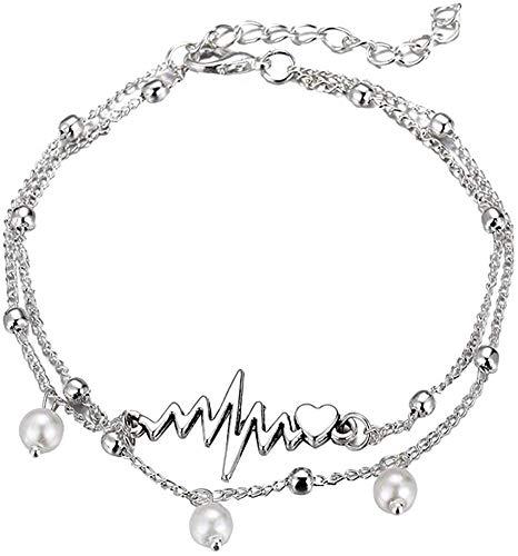 Anklets de la Moda de los Anklet para Las Mujeres 2 unids/Set de Las Mujeres Pulsera del pie Heartbeat Faux Pearl Anklet Toble Chain Jewelry - Plateado
