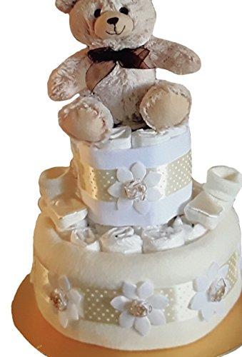 Unisexe bébé fille ou garçon deux Crème à deux étages à couches gâteau Baby Shower Cadeau de grossesse Nouvelle Maman