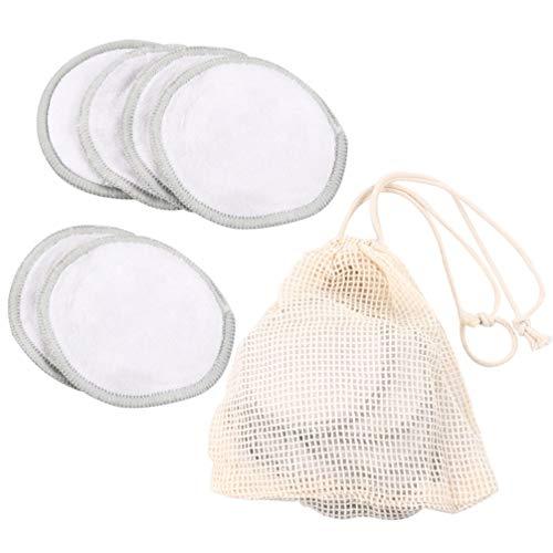 Minkissy Tampon Démaquillant Réutilisable Tampons Ronds en Coton Double Couche Chiffons de Nettoyage Du Visage Lavables Lingette de Maquillage avec Sac de Rangement 11Pcs (Gris)