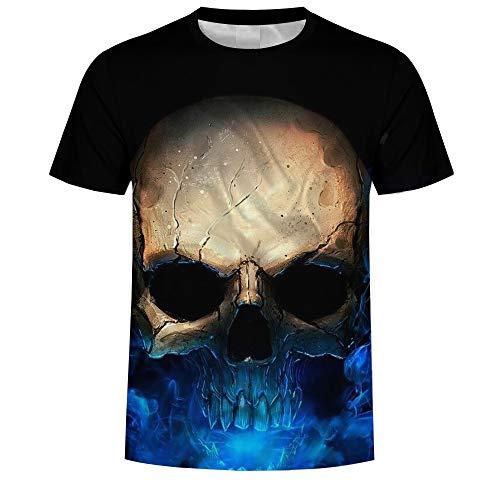LeeQn Unisex 3D Gedruckt T-Shirt Kurzarm Sweatshirt Pullover Tees Für Männer Jungen Frauen Schädel L