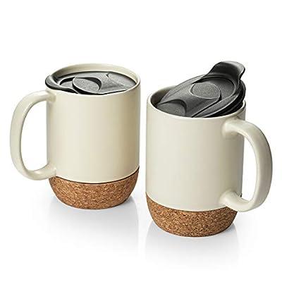 DOWAN 15 oz Coffee Mug Set, Large Ceramic Mugs Set of 2, Tea Mugs with Insulated Cork and Splash Proof Mug Lid, Beige