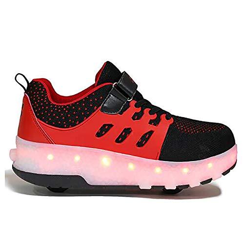 WANGT Zapatos de Roller,Led Luces USB Cargable Patines Deportes Zapatos Ruedas Dobles Running Zapatillas para Gimnasia Niños Niña,Rojo,31