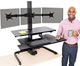 Stand Steady Techtonic | Electric 3 Arm Monitor Mount Standing Desk | Stand Up Desk Converter with Keyboard Tray Supports 3 Screens | Easy & Quiet Sit to Stand with the Push of a Button! (Black)