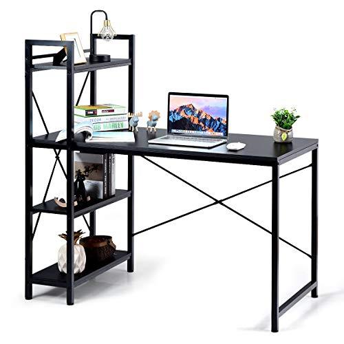 COSTWAY Computertisch mit Regal, Schreibtisch aus Holz, PC Tisch mit Metallrahmen, Bürotisch, Arbeitstisch (Schwarz)