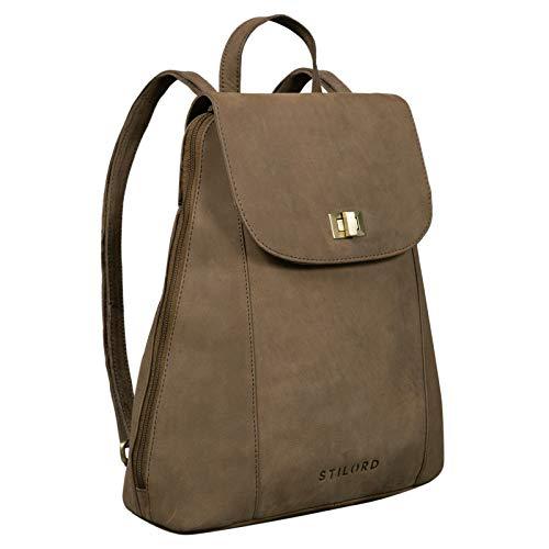 STILORD 'Victoria' Lederrucksack Damen Vintage Rucksack für 13 Zoll MacBook DIN A4 Elegante Rucksackhandtasche für City Ausgehen Shopping Daypack, Farbe:Austin - braun