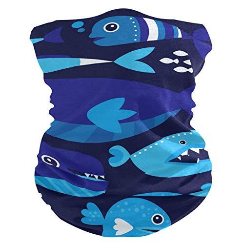 Stoff-Gesichtsmaske für Damen, multifunktional, Bandanas, Schnittmuster, unisex, Cartonnblauer Wal, Stoffmaske, Muster, bedruckbar, für Herren und Damen, Kopfbedeckung, Kopftuch, waschbar, Innentasche