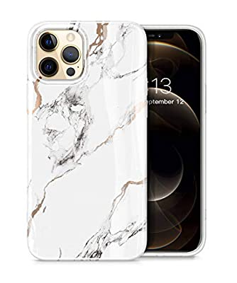 GVIEWIN Aurora Lite Series Case Compatible with iPhone 12 Pro Max 6.7 Inch 2020, Marble Ultra Slim Thin Glossy Soft TPU Rubber Stylish Flexible Protective Case Cover (White/Gold)