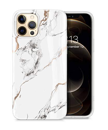 "GVIEWIN Aurora Lite Series Kompatibel mit iPhone 12 Pro Max Hülle 6,7""2020, Ultra dünn glänzend weich Silikon TPU Marmor Stoßfest Handyhülle Cover Schutzhülle, Weiß/Golden"