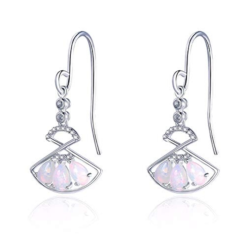 Natuurlijke Edelsteen Opal Oorbellen 925 Sterling Silver Diamond Fan Earrings Chinese Element Fine Stone Jewelry