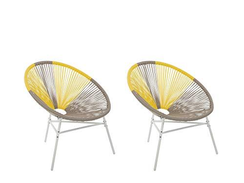 Gartenstuhl mexikanischer Stuhl beige gelb 2er Set Rattanstuhl Acapulco