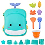 Ezire Beach Toys, Sand Toys Suitcase, 2 in 1 Kids Luggage with Built-in Water Wheel, Foldable Bucket, Sand Castle Molds, Shovels, Watering Can for Toddlers Kids Outdoor Indoor Play Gift