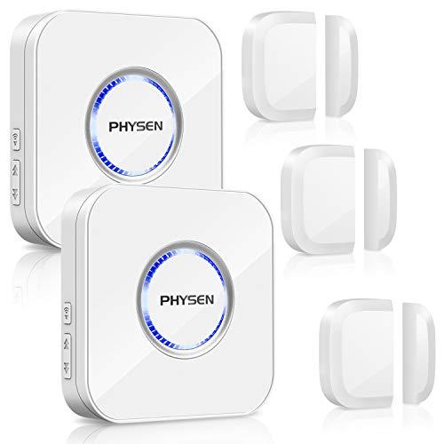 Tür Fenster Sensor Klingel PHYSEN Türsensor mit Magnetsensor, Drahtlose Home Security Alarmanlage, 52 Klingeltöne mit LED-Anzeige für Zuhause/Büro/Geschäfte, Weiß