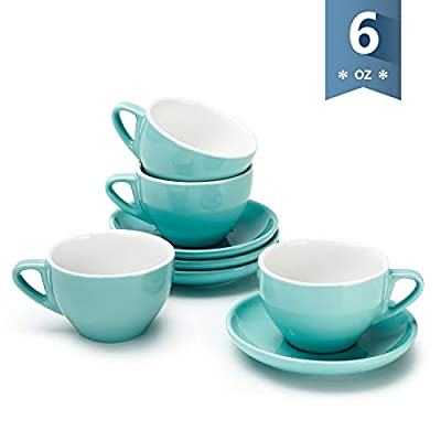 Sweese 403.102 Cappuccino Cup and Saucer Set, 6 Ounce Perfect for Specialty Coffee Drinks, Latte, Cafe Mocha and Tea, Turquoise