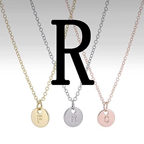 XCWXM Amante de la Mujer Amistad del Hombre Moda 26 Letras Collar con dijes Collar con Colgante Inicial de Oro Rosa-R_Rosegold_45cm