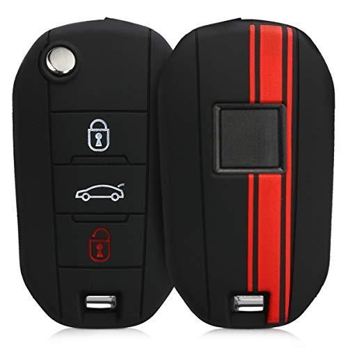kwmobile Funda Compatible con Peugeot Citroen Llave de Coche Plegable de 3 Botones - Carcasa Protectora Suave de Silicona - Rally