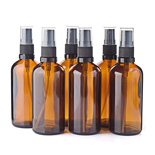 Anself 6Pcs 100ML Botellas de aerosol de niebla de vidrio ámbar vacías Contenedores de vidrio recargables