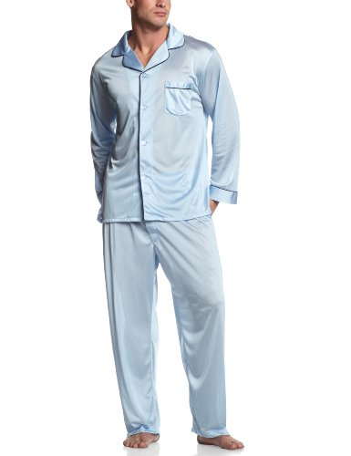 Intimo Men's Tricot Travel Pajama Set,Light Blue,Small
