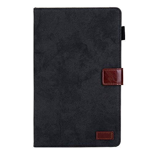 Case for All-New Kindle Fire HD 8 Tablet and Fire HD 8 Plus Tablet (10th Generation, 2020 Release), PU Leather Shockproof Slim Lightweight Folding Smart Tablet Case Back Shell Stand Cover black