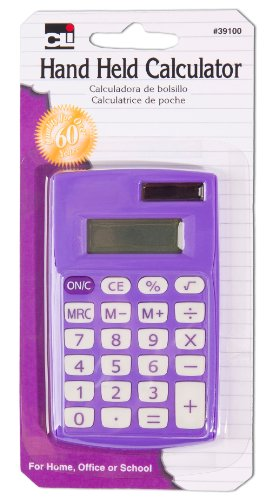 Charles Leonard Hand Held Calculator, Battery and Solar Powered with 8 Digit Display, Assorted Colors (39100)