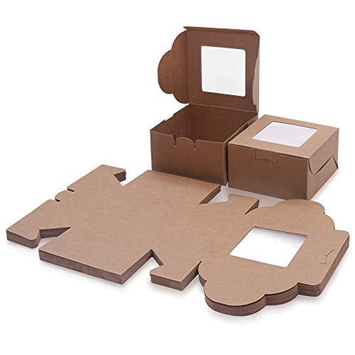 Caja Pasteleria Marrón Kraft (Pack de 50) - Caja Carton con Ventana Transparente (10,16 x 10,16 x 5,7cm) - Caja para Tartas, Roquillas, Mini Pasteles, Rebanada de Pastel y Postres - Caja Desechable