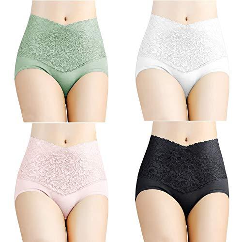 Ghemdilmn Ropa interior sexy de encaje con cintura alta para mujer, sin costuras, de un solo color, slip para el abdomen, suave hipster, 4 unidades multicolor M