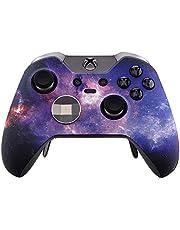 eXtremeRate Carcasa para Xbox One Funda Delantera Placa Frontal Protecdora Tacto Suave Shell de reemplazo Case+2 Anillos de Acento para Controlador Xbox One Elite(Modelo 1698) Galaxia Nebulosa